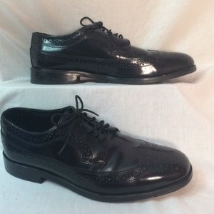 Men NUMN BUSH DRESS FLEX BLACK LEATHER WING SHOES